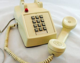 Vintage Push Button Desk Phone with Red Light, Vintage Beige Hotel Phone