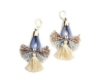Tribal Earrings, Tassel Earrings, Blue and White Earrings, Nautical Earrings, Fiber Chandeliers, Fabric Earrings