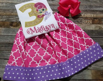 Girls Shimmer Inspired Birthday Shirt or Outfit with Skirt, Shorts, Capris or Ruffled Pants