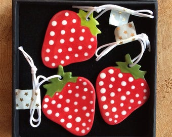 3 Strawberry Porcelain Decorations/Hanging Ceramic Strawberry/Ceramic Decoration/ornament.Porcelain strawberry.Made in Wales.