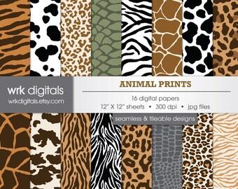 Animal Print Seamless Digital Paper Pack, Digital Scrapbooking, Instant Download, Leopard Print, Snake Skin