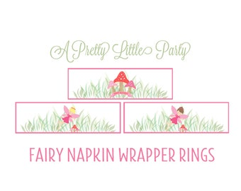 Fairy Napkin Rings - Pixie Napkin wrappers -  Woodland fairy - Party Supplies - INSTANT DOWNLOAD