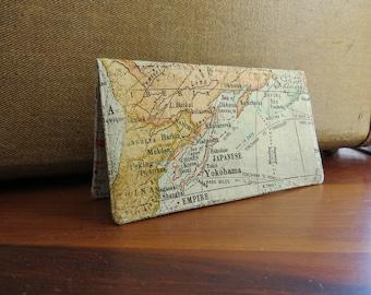 Checkbook Cover Cotton Cloth World Map Design TopTear