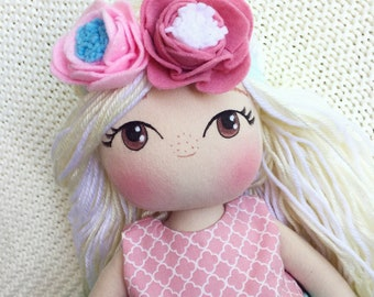 Cute Cloth Doll - Fabric Doll with Wool Hair - Blonde Doll - Girl Gift Idea - The Garden in Bloom Collection - Blushing Rag Doll