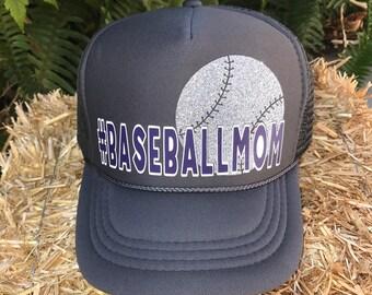 Baseball Mom, Baseball, Baseball Hat, Baseball Mom Trucker Hat, Glitter Hat, #baseballmom, Custom Trucker Hat