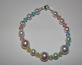 Pearl and Multi Colored Swarovski Bracelet with Lobster Clasp