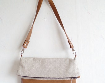 Crossbody leather bag, Geometric cross body bag, Foldover crossbody bag, Linen crossbody purse,