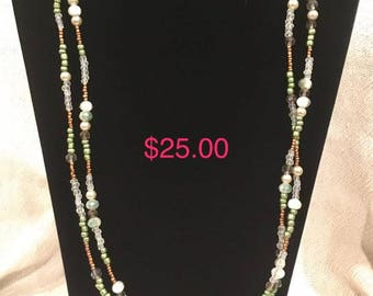 Green and Brown Beads with Faux Crystal Spacer Gems, Two-Strand Beaded Necklace