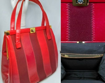 1960's Vibrant Red Larger Sized Kelly Bag With Stripe Design - Good Condition - Only 45 Pounds!