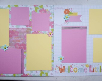 Baby girl pre-made 12x12 Scrapbook pages