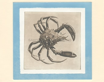 """CRAB,  8"""" x 8"""" Art Print on 80lb fine art paper from handprinted intaglio etching and monoprint"""