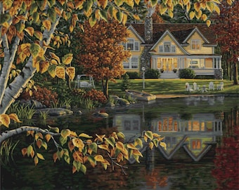 PLAID Paint by Number Kit AUTUMN REFLECTIONS 20 x 16 inches No Blending Mixing
