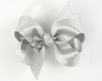 Silver Hair Bow - silver hair clip - silver hair barrette - little girls hair bows - baby hairbows - 3 inch boutique bows - metallic ribbon