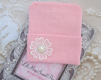 Newborn Hospital Hat, pink with a crochet flower and pearl  button, baby hat, from Lil Miss Sweet Pea Boutique