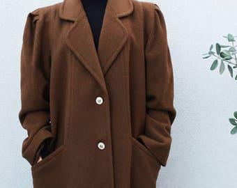 SALE Vintage Wool Coat, Brown Coat, Long Coat, Flowing Coat, Straight-Cut Coat, Winter Coat, Women's Coat, Winter Jacket, Woman Coat, 80s