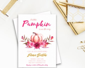 A Little Pumpkin Baby Shower Invitation, Sweet Little Pumpkin is on the way, fall, autumn, baby shower, pink and gold, pumpkin, floral, 052