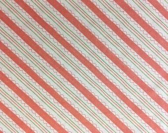 Diagonal Stripe moda Cotton Fabric Orange 70 inches