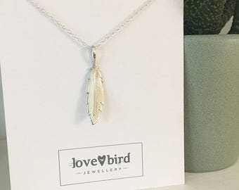 Silver and Rose Gold Feather Pendant Nacklace (feather necklace, silver feather, feather jewellery)