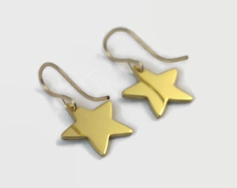 24 Carat Gold Plated Star Earrings on French Hook Findings - Handmade tiny star dangle earrings for an understated outfit