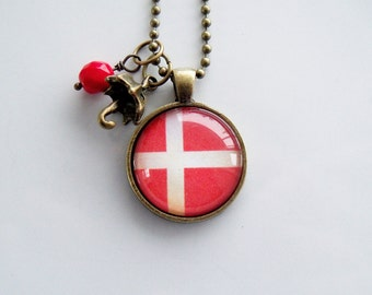 Flag of Denmark Necklace - Danish Flag - You Choose Bead and Charm - Patriotic Pendant - Custom Jewelry - Travel Necklace - Red And White