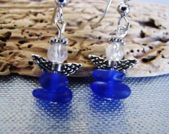 Sea Glass - Angel Earrings , Small Cobalt Blue Beach Glass Earrings - Prince Edward Island Genuine Pure Sea Glass Earrings - Ocean Jewelry