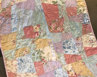 Baby quilt , pastel floral lap quilt,shabby chic