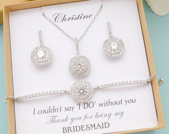 Personalized Bridesmaid Gift, Bridesmaid Jewelry Set, Bridesmaid Earrings, Princess Square Cut Earrings, Bridesmaid Gifts, Mother of Bride