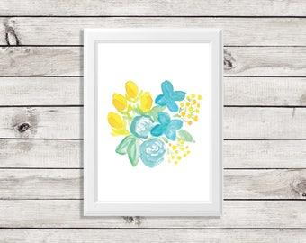 watercolor flower painting - watercolor flower - floral watercolor - floral watercolor painting - blue and yellow flowers