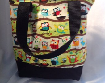 Cute owls Insulated Zip-up Lunch bag  KID SIZED - Ready to Ship