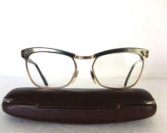 French 50's 60's Eyeglasses Gold Filled Cat Eye Frame Eyewear FREE SHIPPING Medium Size Women's Lady Gift Idea 48-18-130 Amor Style