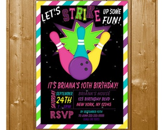 Cosmic Bowling Invitation, Bowling Birthday Invitation, Girls Bowling Party Invitation, Night Dark Bowling Invitation, Free Thank You Card