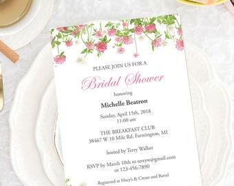 Bridal Shower Invitation Template, Printable Shower Invites with Pink Flowers, Bridal Shower Template  Editable PDF Template #CLV-03