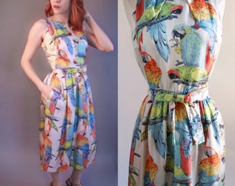 Gorgeous 1960's silk Parrot Novelty print dress