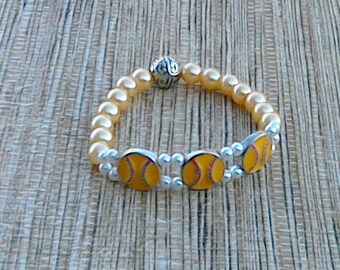Baseball Charm Bracelet, Softball Charm Bracelet, Beaded Charm Bracelet, Sport Bracelet