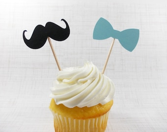 Little Man Mustache & Bow Tie Party Picks, Baby Blue Cupcake Toppers, Little Man Party Decoration, Baby Shower, Birthday Party 12 Ct.