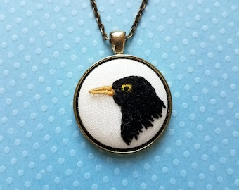 "Blackbird Singing in the Dead of Night Necklace - Hand Embroidery - Blackbird Pendant - 18"" Necklace"