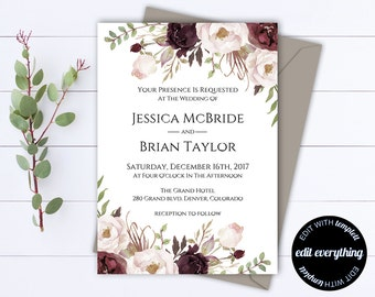 Floral Wedding Invitation Printable Wedding Invitations Printable Invitation Suite Floral Invitation Set Floral Invitation Template