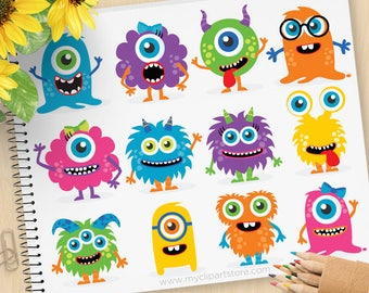 Monster Clipart, baby monster, cute monster, friendly monster, birthday party, invite, Commercial Use, Vector clip art, SVG Files