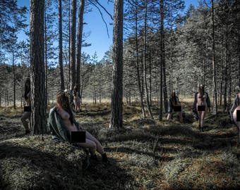 Naked in nature Outdoor nude fine art photography Artistic nude photo print - Spirits of the Forest - 02 - MATURE