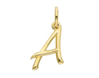 """Initial charm 14k yellow gold 1/2"""""""