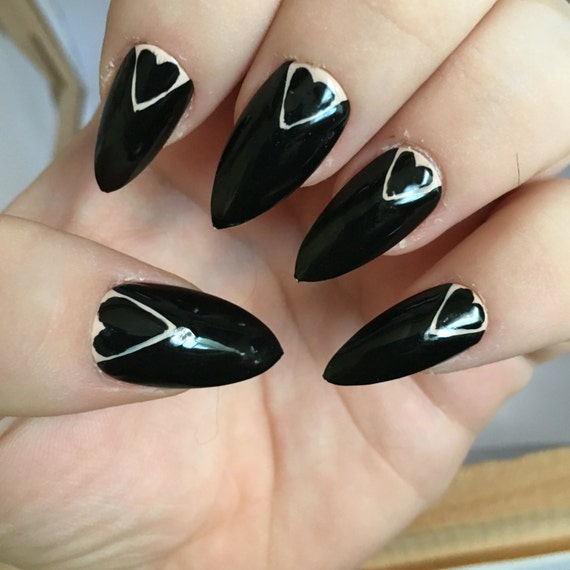 Uñas Stiletto negro pegamento de uñas postizas pulse en uñas
