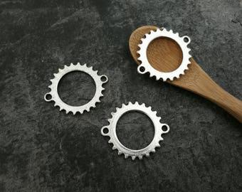 1 pc connector round gear clockwork steampunk, silver, 27 x 24 mm