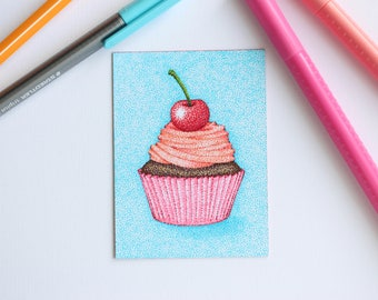 Artist Trading card Cupcake with cherry Pointillism ACEO