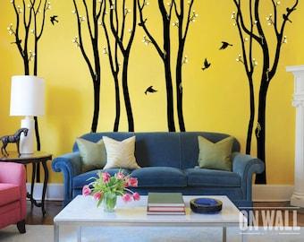 Large birch tree decal, nursery birch decal, tree wall decal, 9  Birch Trees, Vinyl Wall Decal bird stickers MM002