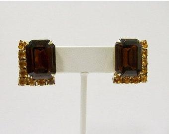 On Sale Vintage Prong Set Golden Brown Rhinestone Earrings Item K # 423