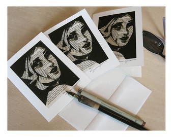 3 Art Cards, Girl in a Scarf Blank Inside Matching Envelopes Collage with Pen and Ink Drawing Artist signed cards  Prints Free US Insurance