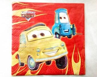 set of 2 napkins papierserviette cars, red background paper