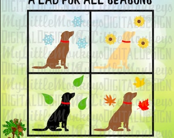 Labrador Retriever Svg, A Lab for All Seasons, Black Lab Svg, Yellow Lab SVG, Chocolate Lab, Commercial Use, Cut File, Clip Art, eps~dxf~png