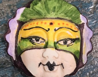 clay face jewelry craft supplies  handmade cabochon round  mask   woman  polymer  findings   doll parts head mask stripes tribal