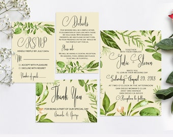 Green wedding invitation, Garden wedding invitation, Greenery wedding invitation, Rustic wedding invitation set, Wedding invitation leaves